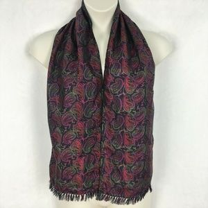 Accessories - Black Pink Paisley Print Solid Fringed Scarf